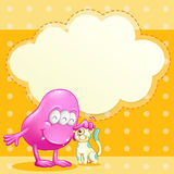 A pink monster and a cat with an empty cloud template Royalty Free Stock Photos