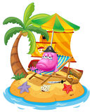 A pink monster in the island Stock Images