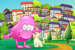 A pink monster patting a pet at the hilltop across the buildings Royalty Free Stock Photography