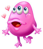 A pink monster with two hearts Royalty Free Stock Image