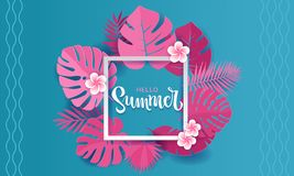 Pink monstera palm leaves aroung white square frame with hand lettering hello Summer Banner design in paper cut style. Origami royalty free illustration