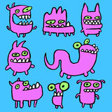 Pink Monsters Emoticons Set. Vector Illustration. Stock Photo