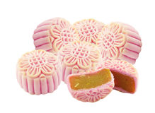 Pink Mooncake. Isolated white background Royalty Free Stock Photography