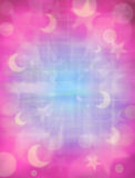 Pink Moons Stars Background. A background of stars and moons with pink and blue tones Stock Photos