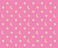 Pink moons and stars pattern. Glowing moons and stars pattern on a pink background Royalty Free Stock Photography