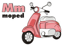 Pink moped and abc. Pink moped with word moped and letters m Stock Photo