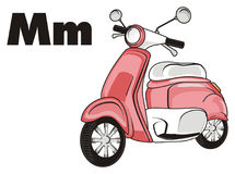 Pink moped and black letters. One moped with black letters m Stock Photos