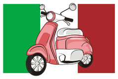 Pink moped and flag. Pink moped with italy flag Royalty Free Stock Photos