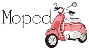Pink moped with his name. One pink moped with black word moped Royalty Free Stock Images