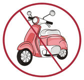 Pink moped and road sign. Pink moped on the middle of round red road ban Stock Photography