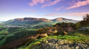 Pink morning skies over Keswick. Pink morning skies over Skiddaw Royalty Free Stock Images