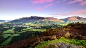 Pink morning skies over Keswick. Pink morning skies over Skiddaw Royalty Free Stock Photo