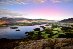 Pink morning skies over Keswick Stock Photography