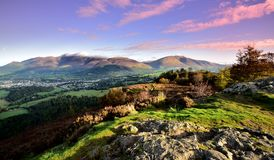Pink morning skies over Keswick. Pink morning skies over Skiddaw and Blencathra Royalty Free Stock Photography