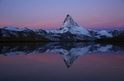 Pink morning sky over the Matterhorn Royalty Free Stock Photo