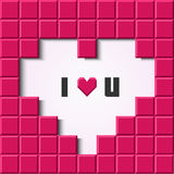 Pink mosaic heart card. Vector illustration Royalty Free Stock Image