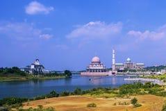 Pink mosque putrajaya kuala lumpur, malaysia. Shoot on the bridge Stock Photography