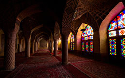 Pink Mosque, Shiraz, Iran. The traditional Nasīr al-Mulk Mosque in Shiraz, Iran. The mosque has colored glass in its facade stock image