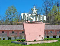 Pink Motel. Old pink motel with blank sign (and a 1 star rating stock images