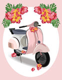Pink Motor Scooter with flowers Royalty Free Stock Photos