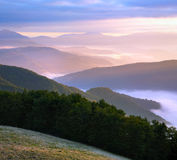 Pink mountain hazy daybreak Stock Photography