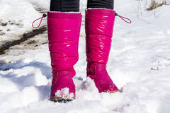 Pink mountain shoes Standing on the snow . Royalty Free Stock Image