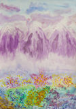 Pink mountains, painting Royalty Free Stock Photo