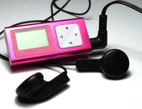 Pink mp3 player Stock Photo