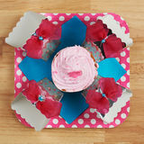 Pink muffin view from top Stock Photography