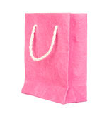 Pink mulberry paper bag isolated on white Royalty Free Stock Photo