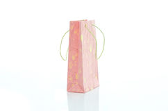 Pink mulburry paper bag on white background Stock Image