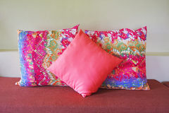 Pink and multicolor pillow Stock Image