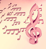 Pink music key with notes Stock Photography