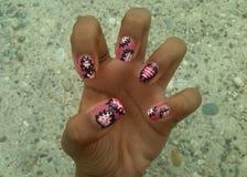 Pink nail art. Cool nails wow Royalty Free Stock Photos