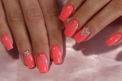 Pink Nail Art Geometry. For beautiful, cute girls Stock Image