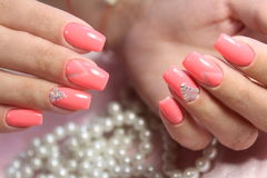 Pink Nail Art Geometry. For beautiful, cute girls royalty free stock photography