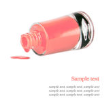 Pink nail polish bottle. Isolated on white background Royalty Free Stock Images