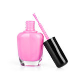 Pink nail polish with brush Royalty Free Stock Photography