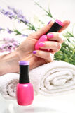 Pink nail polish Stock Photography