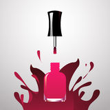 Pink Nail polish open bottle iwith splash paint background Royalty Free Stock Photography