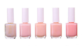 Pink  nailpolish set isolated Stock Photos