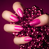 Pink nails manicure Stock Photos