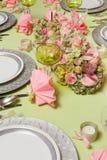 Pink napkins on Christmas table Stock Photo