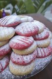 Pink and natural cookies with powder sugar stock image