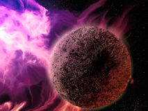 Pink Nebula - Digital Painting. Digital painting of a pink nebula surrounding a lifeless rocky planet Royalty Free Stock Image