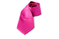 Pink necktie. Isolated on white background stock images
