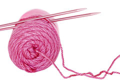 Pink needles and yarn stock photos