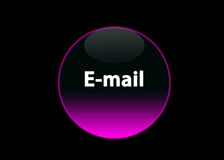 Pink neon buttom e-mail. One pink neon button e-mail, black background vector illustration