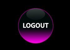 Pink neon buttom logout. One pink neon button logout, black background royalty free illustration