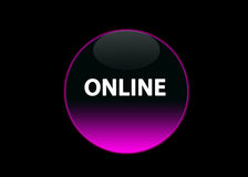 Pink neon buttom online. One pink neon button online, black background stock illustration